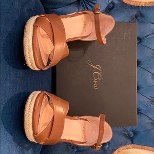 jCrew Leather Espadrille Wedge Sandal